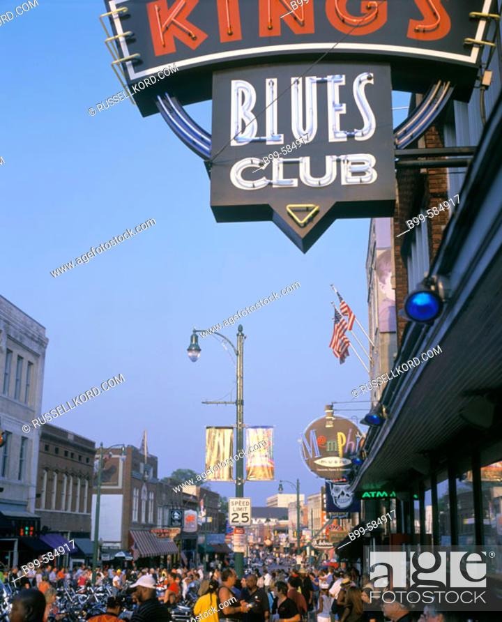 Stock Photo Bars Restaurants Beale Street Memphis Tennessee