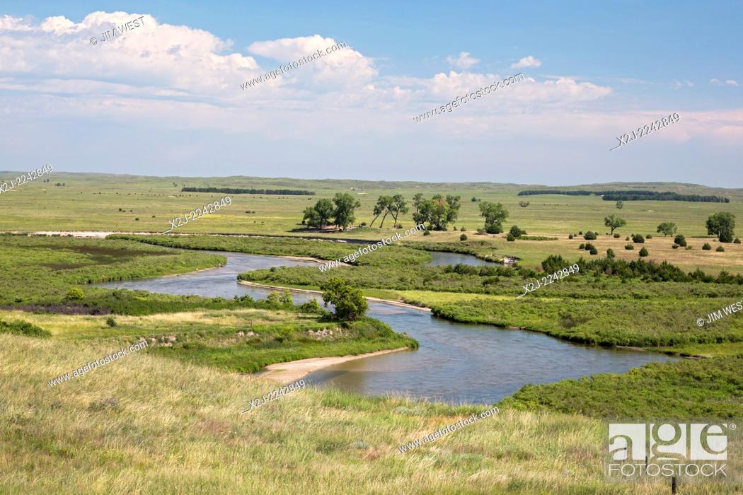 Stock Photo: Brewster, Nebraska - The North Loup River in the Nebraska Sandhills. The sandhills is a prairie region that sits atop the Ogallala Aquifer.