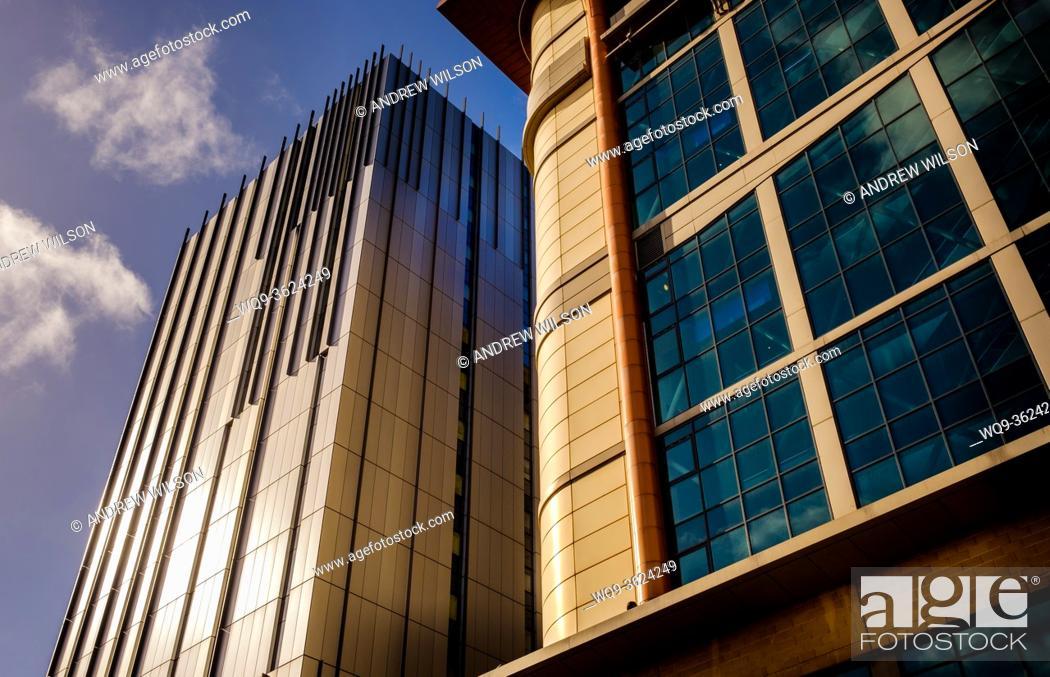 Stock Photo: Premier Inn Building on the left and the Cineworld Cinema in West Nile Street, Glasgow, Scotland.