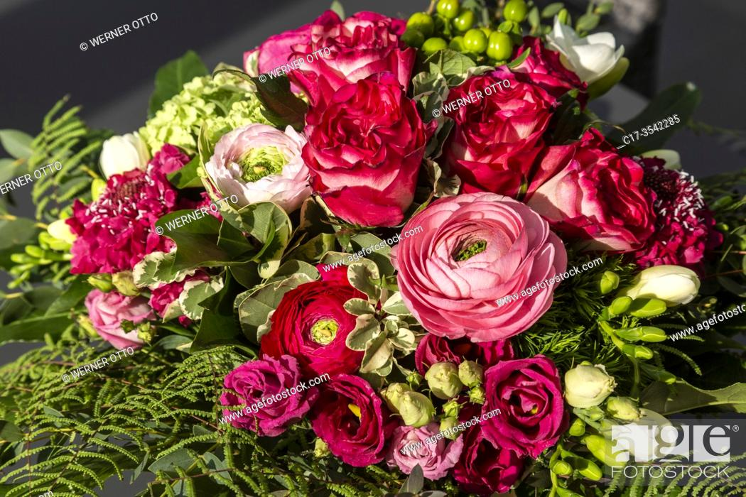 Stock Photo: Oberhausen, Sterkrade, nature, plants, flowers, bunch of flowers, birthday bouquet, roses, ranunculus, freesias *** Local Caption ***.