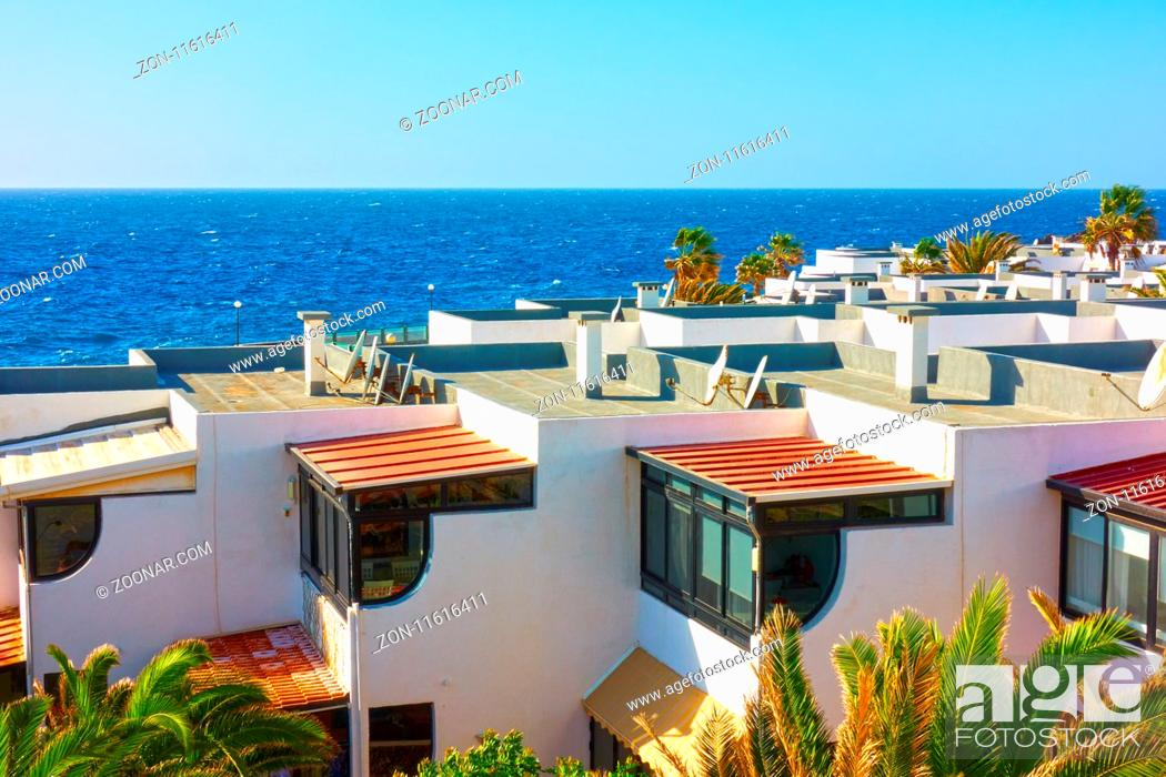 Stock Photo: White houses with terraces in residential area at a sea resort.