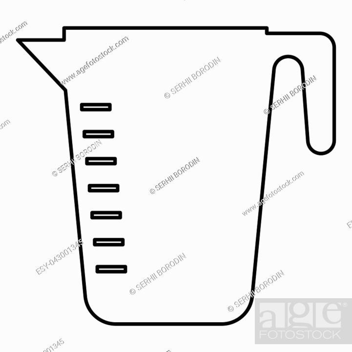 Stock Vector: Measuring capacity cup icon black color vector illustration flat style outline.