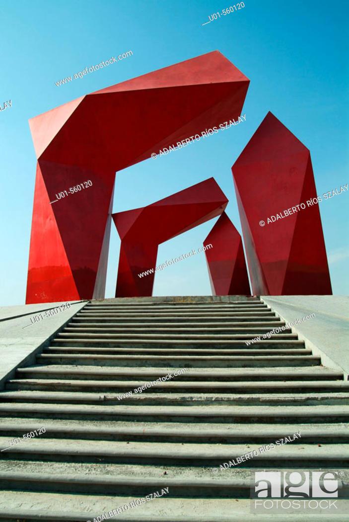 Stock Photo: Puerta de Monterrey (1985), metallic sculpture designed by Mexican artist Sebastián, Santa Catarina. Nuevo León, Mexico.