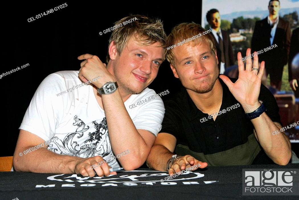 Stock Photo - Nick Carter, Brian Littrell at arrivals for Backstreet Boys  NEVER GONE Album Release by Jive Records, Virgin Megastore in Times Square,  ...