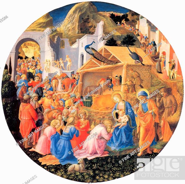 Stock Photo: The Adoration of the Magi. Angelico, Fra Giovanni, da Fiesole (ca. 1400-1455). Tempera on panel. Renaissance. ca 1440-1460.