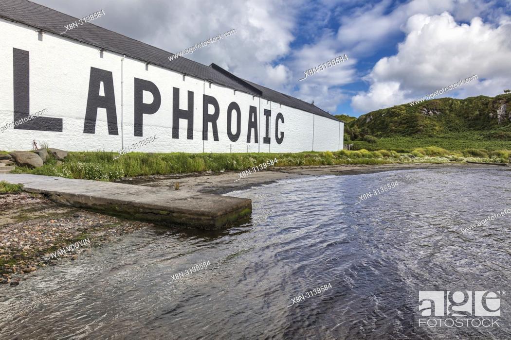 Stock Photo: Laphroaig distillery, Islay, Inner Hebrides, Argyll, Scotland, UK.