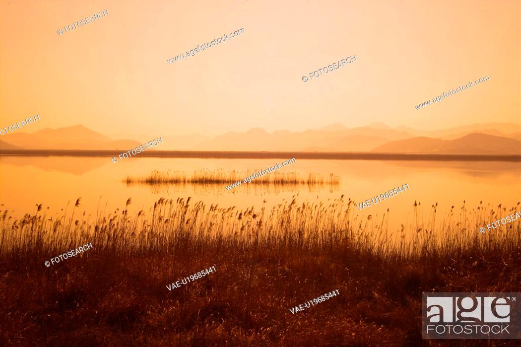 Stock Photo: scenic, sunset, landscape, eulalia, scenery, river.