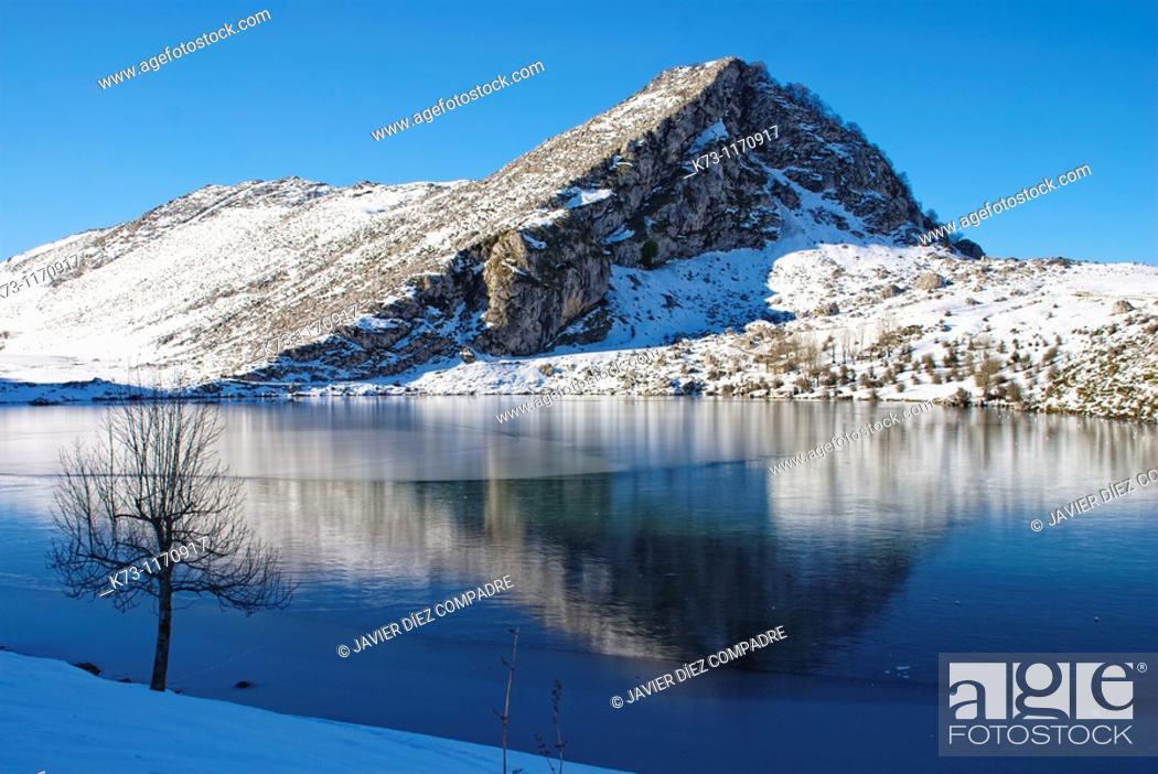 Stock Photo: Enol Lake. Covadonga. Picos de Europa National Park. Asturias. Spain.