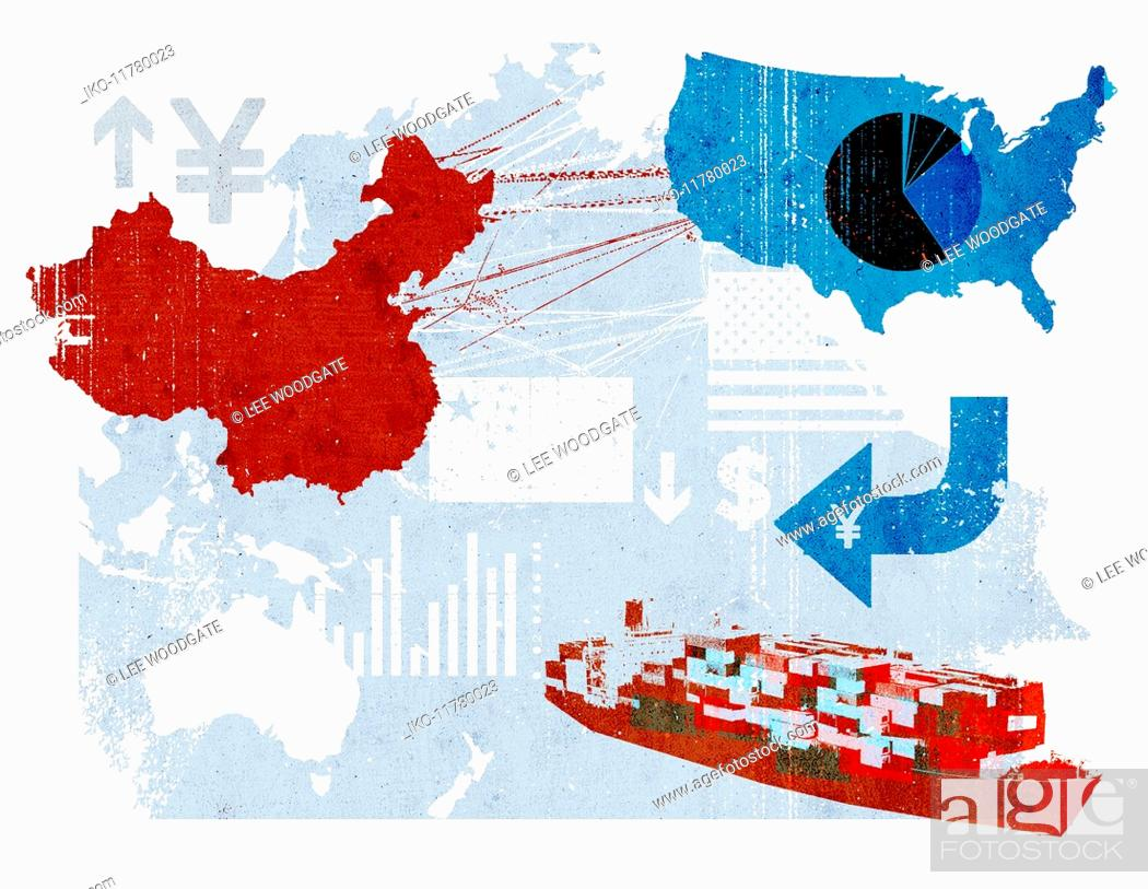 Imagen: Trade connections between China and United States on map.