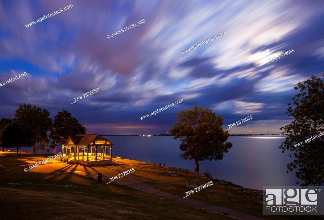 Stock Photo: A view of a gazebo in MacDonald Park along the shore of Lake Ontario. Kingston, Ontario, Canada.