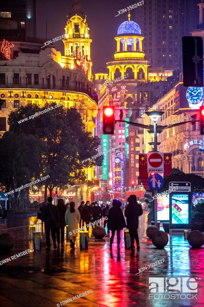 Stock Photo: The flashy neon lights at Nanjing Road in Shanghai, China.