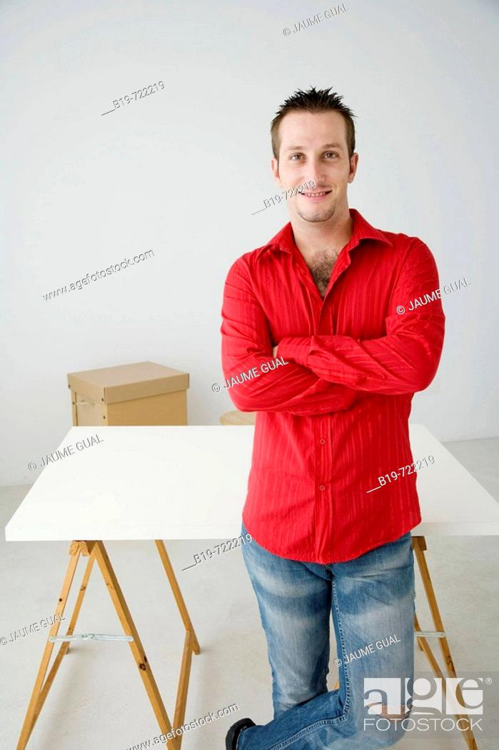 Stock Photo: Man in new home.