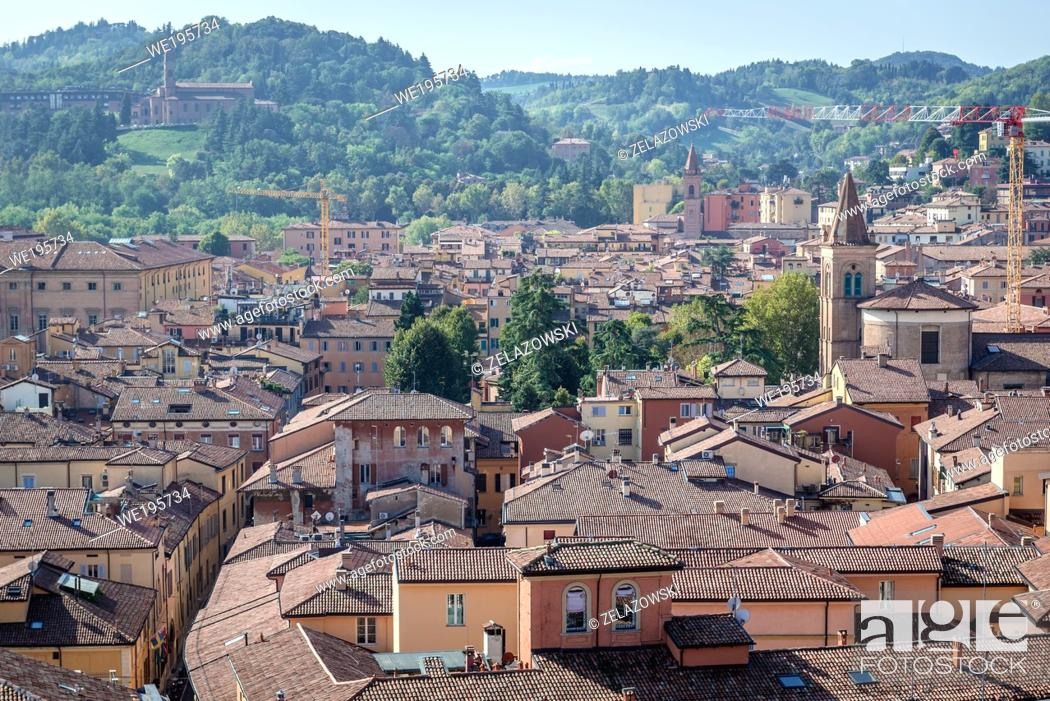 Stock Photo: Old Town of Bologna, capital and largest city of the Emilia Romagna region in Northern Italy - view from Basilica of San Petronio.