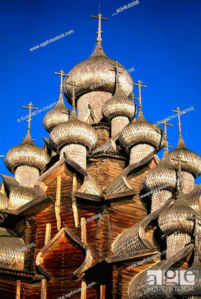 Stock Photo: Russia - Kiji Island - Transfiguration Church 22 Onion Domes.