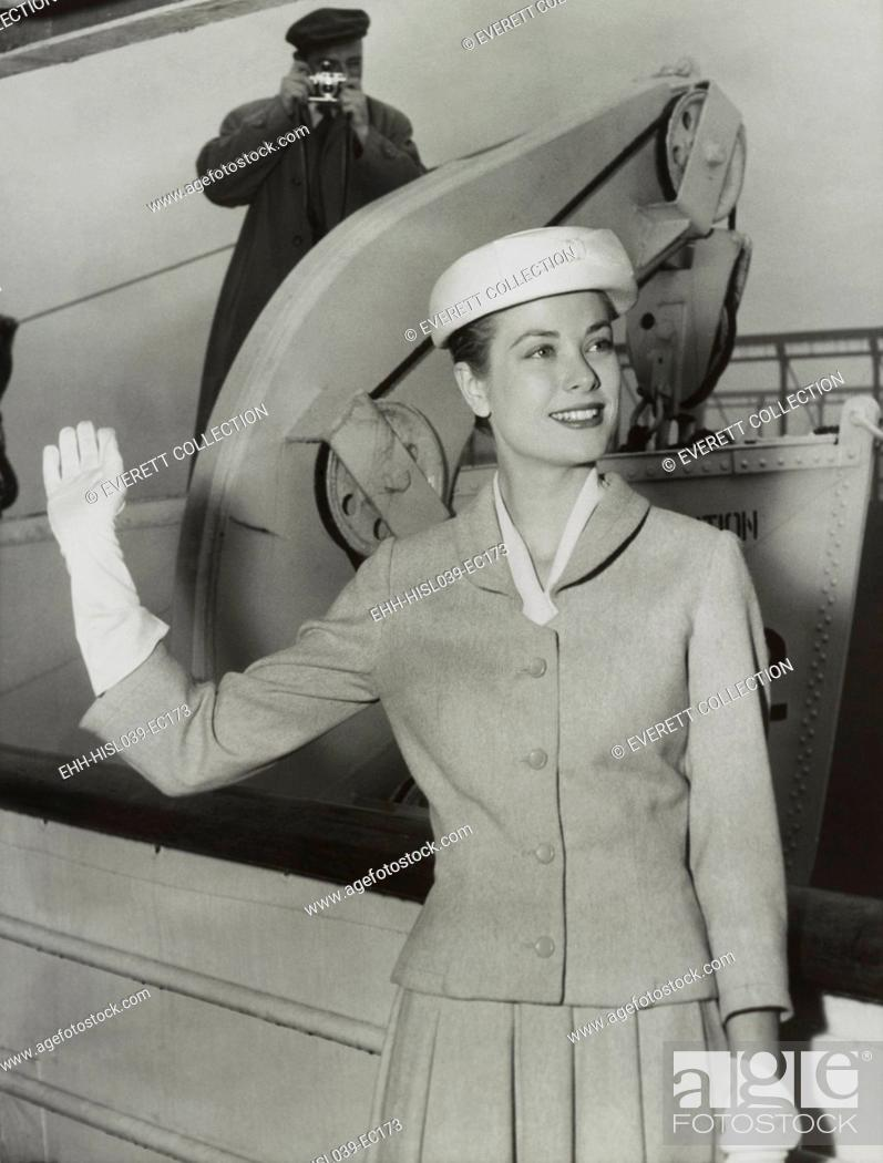 Stock Photo: Grace Kelly waves from the ocean liner SS Constitution before sailing for Monaco. April 4, 1956. She married Prince Rainer.