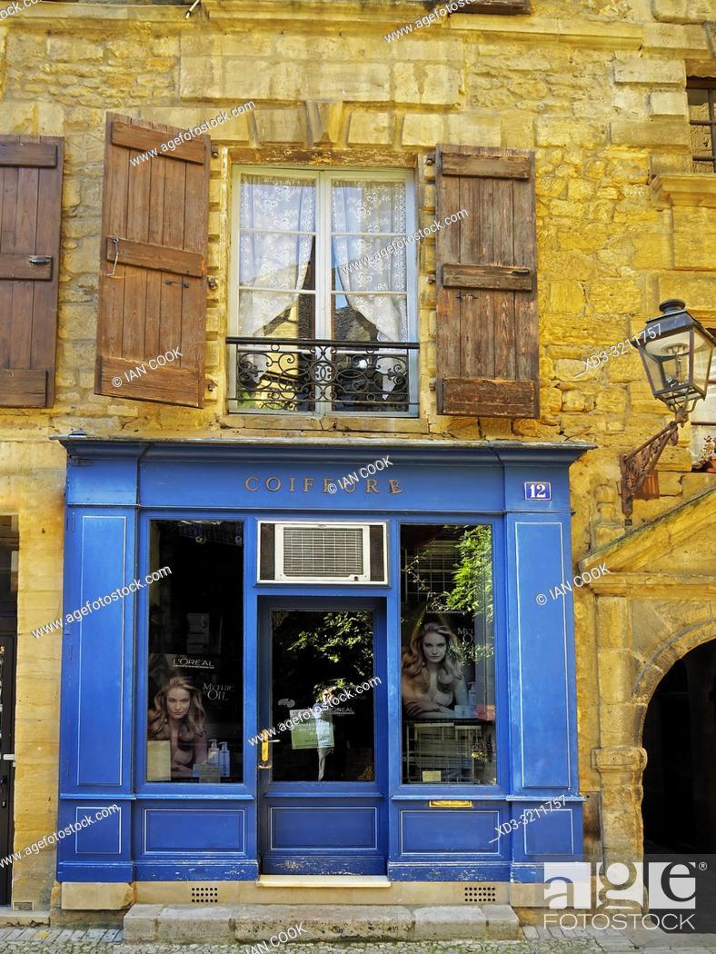 Stock Photo: hairdresser, Sarlat-la-Caneda, Dordogne Department, Nouvelle-Aquitaine, France.