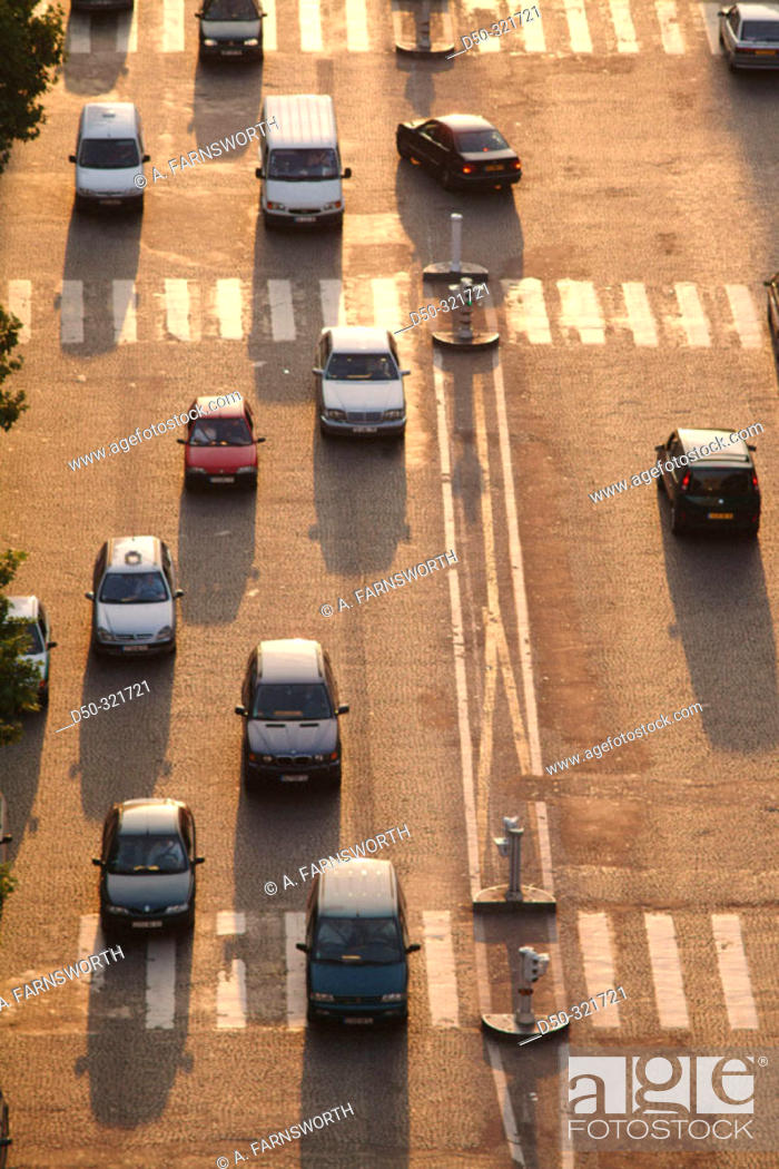 Stock Photo: Traffic on Avenue Charles De Gaulle at sunset. Paris. France.