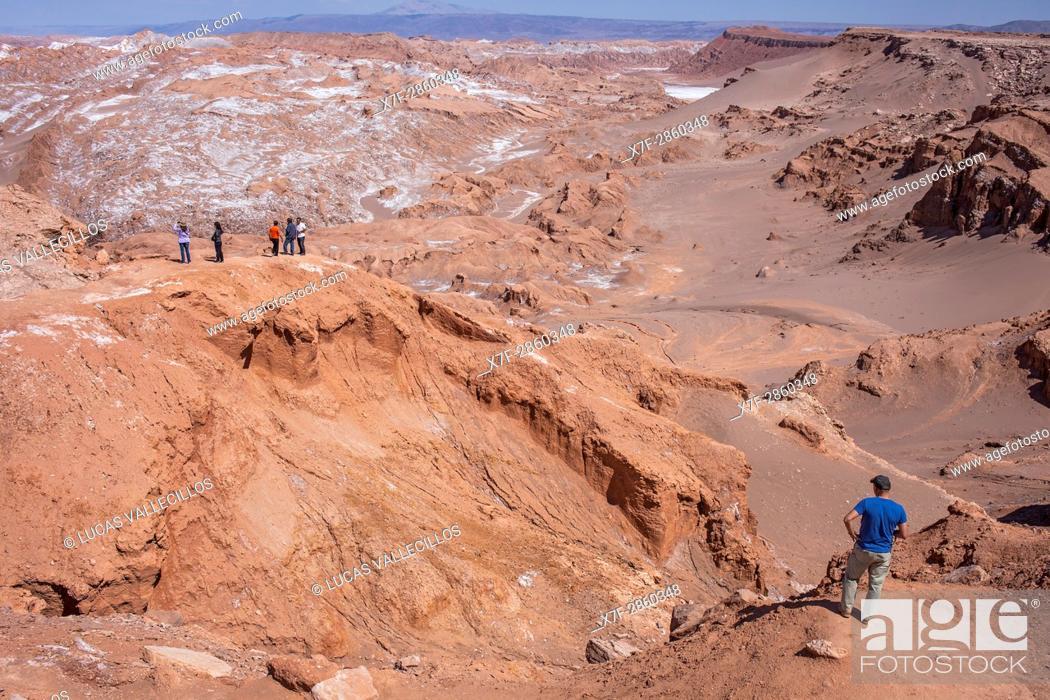 Stock Photo: Valle de la Luna (Valley of the Moon) and salt deposited on the ground, Atacama desert. Region de Antofagasta. Chile.