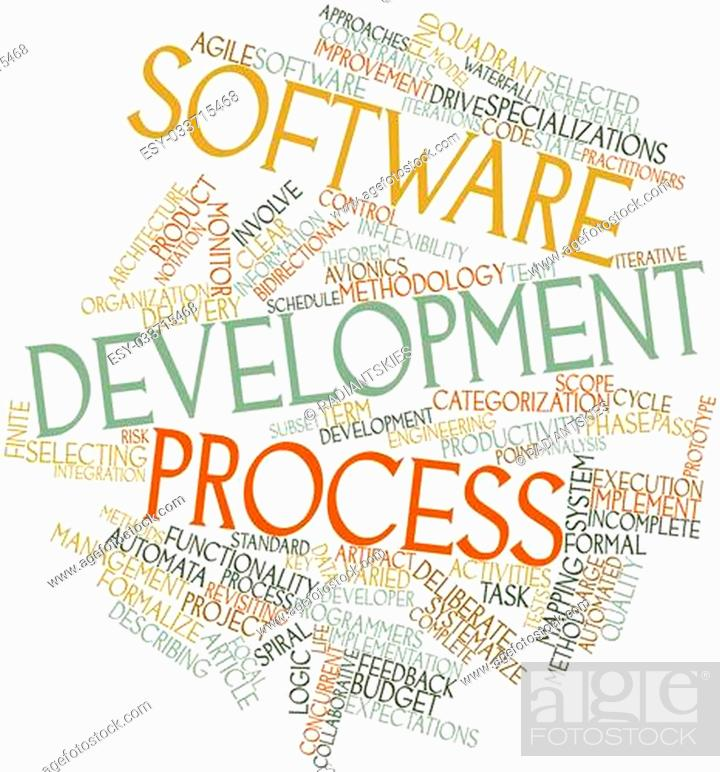 Abstract word cloud for Software development process with