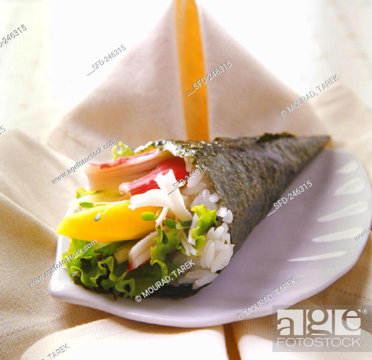 Stock Photo: Temaki with rice, surimi and mango.
