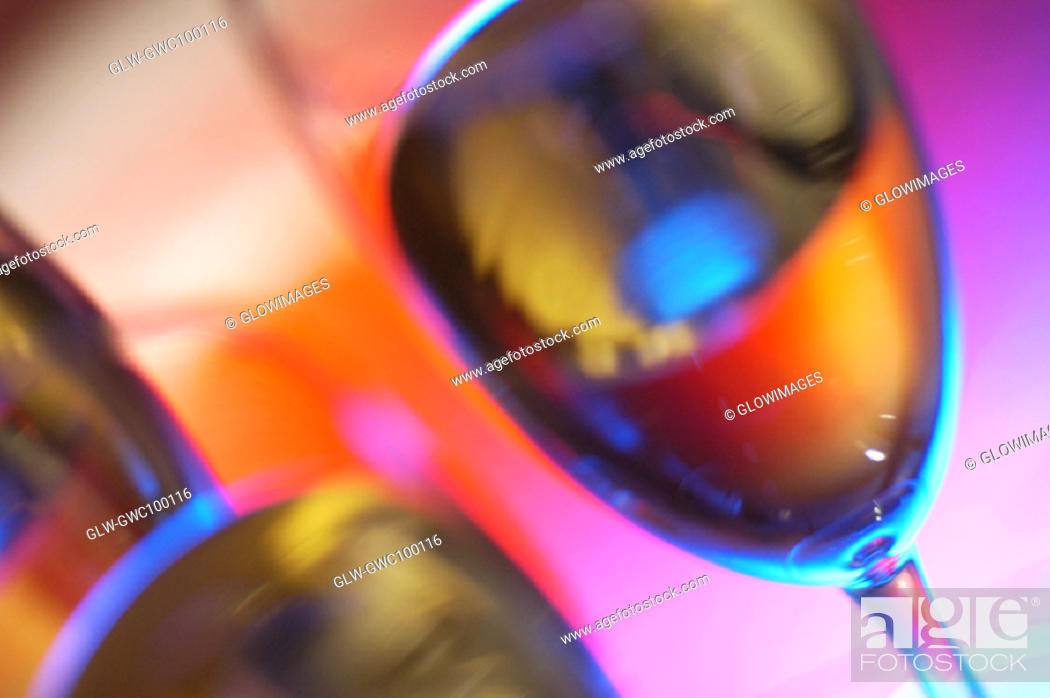 Stock Photo: Close-up of champagne in three champagne flutes.