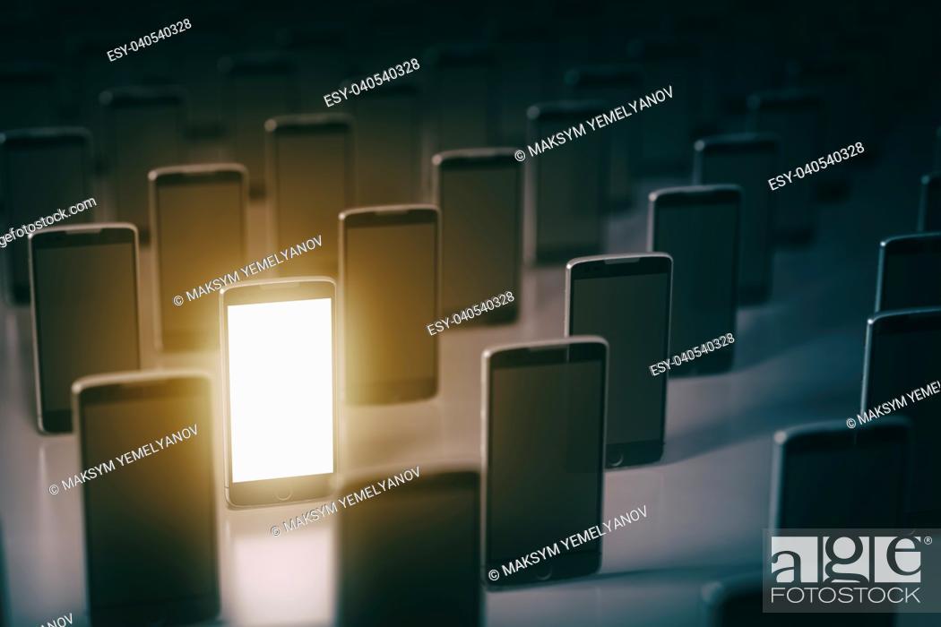 Stock Photo: Choose mobile phone. Many smartphones . Business communication technology concept background. 3d illustration.