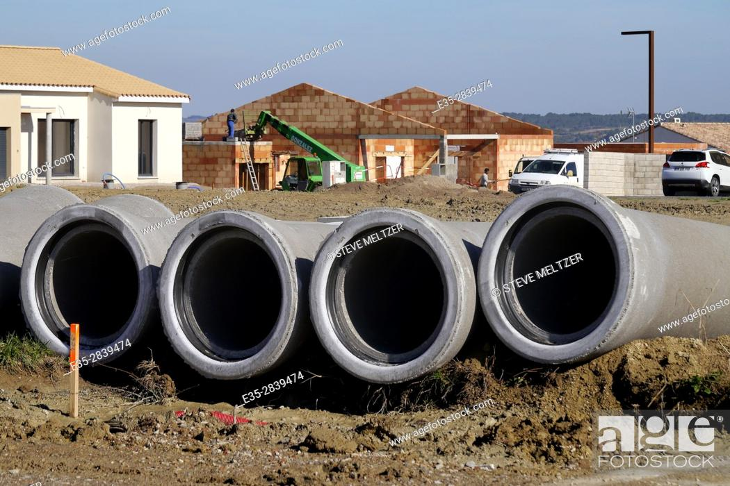 Stock Photo: Sewer pipes at a housing construction site near Pezenas.
