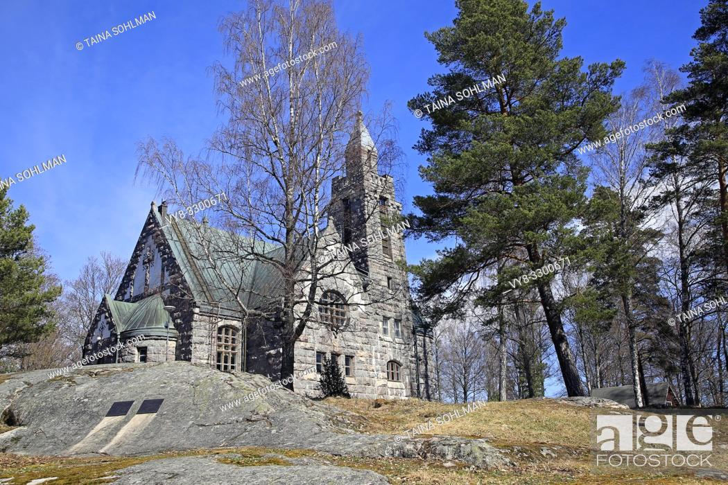 Stock Photo: Karuna Church and bell tower in Karuna, Sauvo, South of Finland in spring. The church was built in 1908-10 in the style of Finnish National Romanticism.