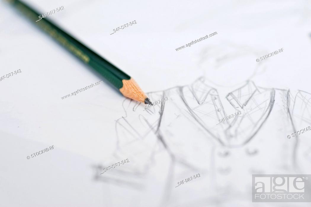 Stock Photo: Fashion draft and pencil.