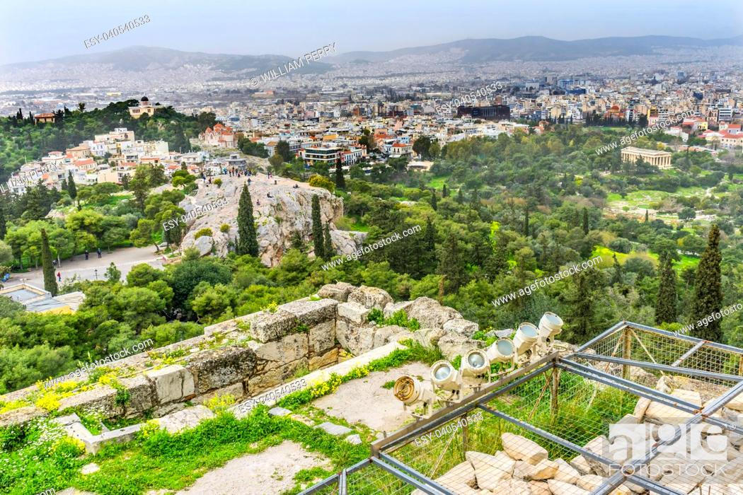 Stock Photo: Areopagus Saint Paul Rock Agora Acropolis Athens Greece. Areopagus rock where Saint Paul made his speech about unknown god in Athens.