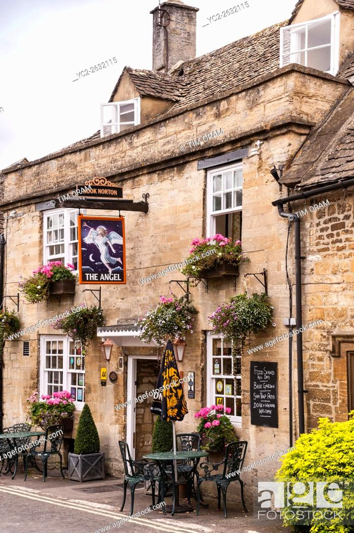 Stock Photo: The Angel pub in the pretty Cotswold town of Burford , Oxfordshire , England , Britain , Uk.