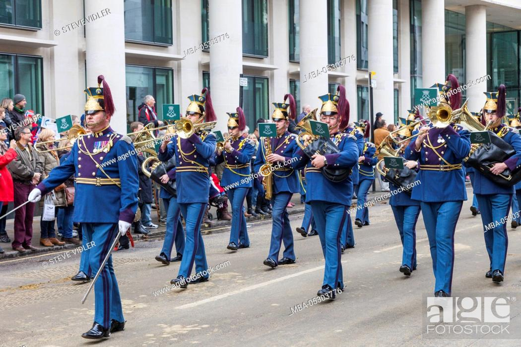 Stock Photo: England, London, The Lord Mayor's Show, Marching Band.