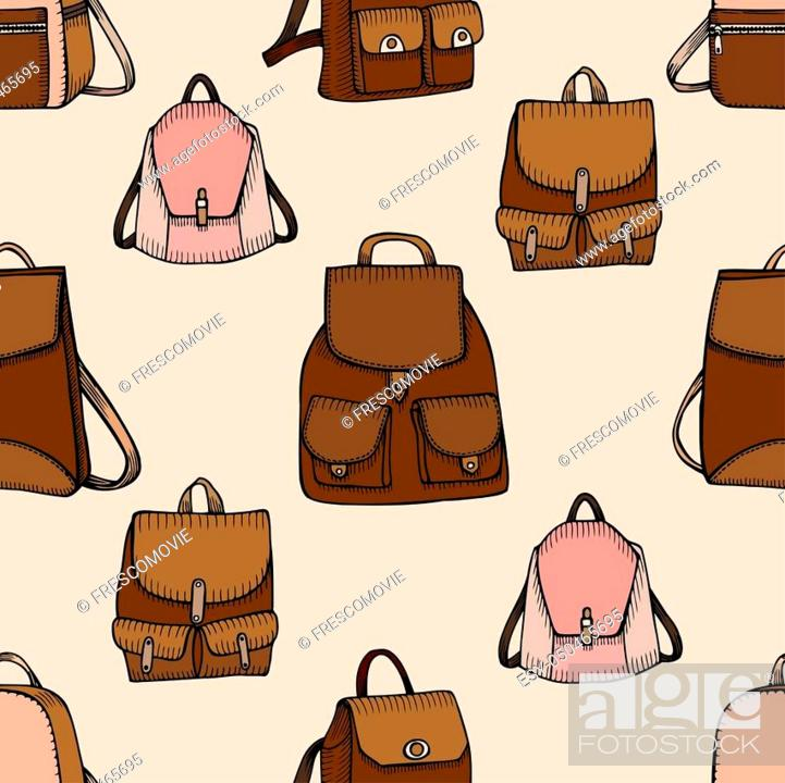 Stock Photo: Seamless hand drawn Backpack background. Sketch style. illustration.