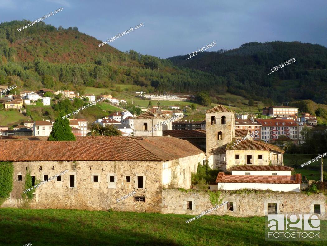 Stock Photo: San Salvador de Cornellana Monastery XIth century, Cornellana, Salas municipality, Asturias, Spain.