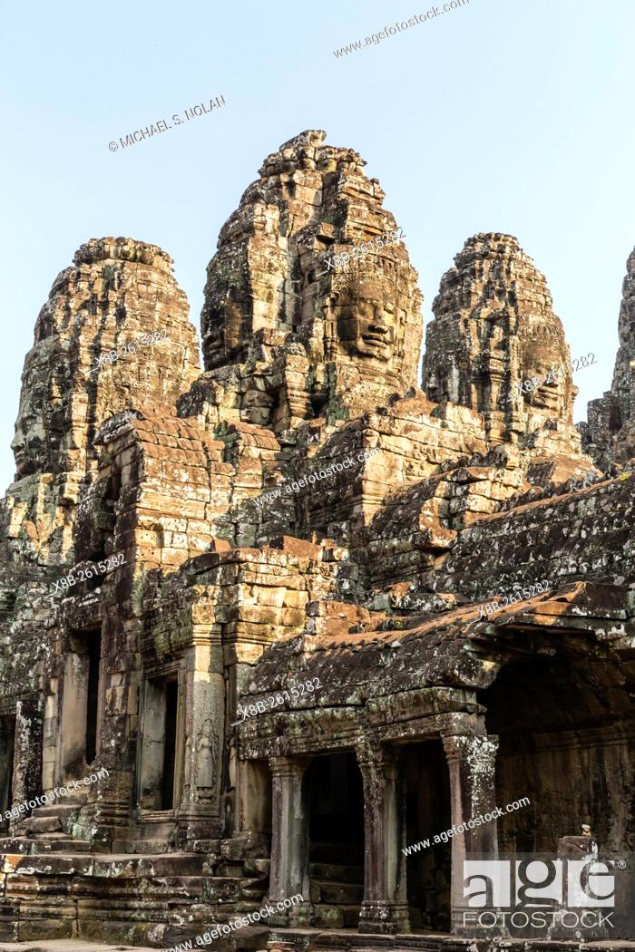 Stock Photo: Four-faced towers in Prasat Bayon, Angkor Thom, Angkor, Siem Reap Province, Cambodia, Khmer.