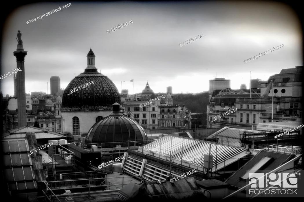 Stock Photo: London, roofs, NelsonÂ's Column in Trafalgar Square.