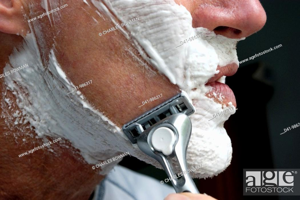 Stock Photo: shaving man.