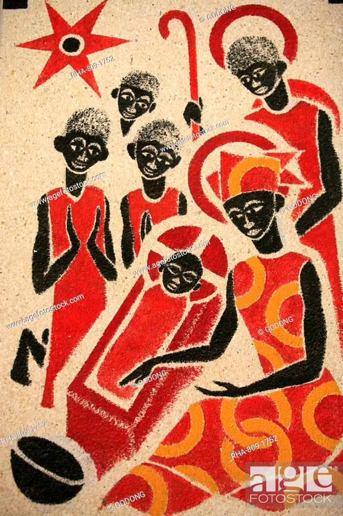 Stock Photo: Nativity scene fresco designed and painted in 1963 by Dom Georges Saget, Keur Moussa Abbey church, Ker Moussa, Senegal, West Africa, Africa.