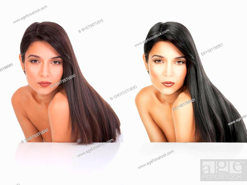 Imagen: a beauty portrait before after white background. she is bent forward and her long, black hair flows on her back.