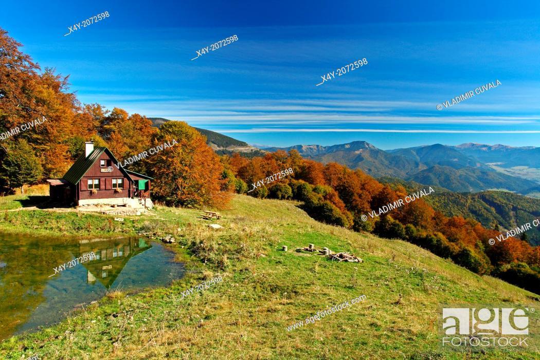 Stock Photo: The mountain refuge Limba located in the valley Tepla dolina, NP Velka Fatra, Slovakia.