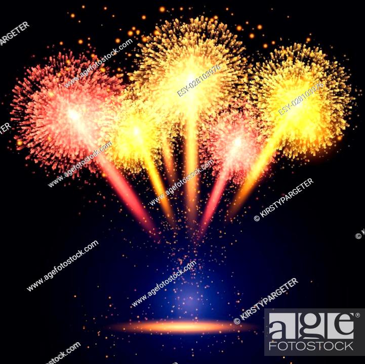 Stock Vector: Colourful fireworks background.