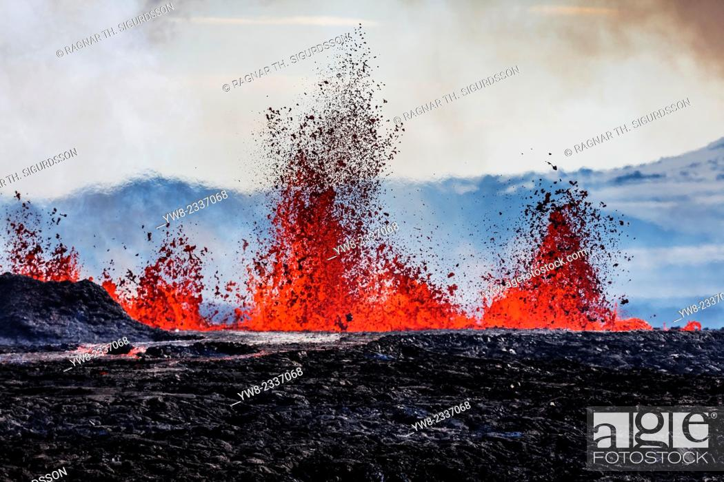 Stock Photo: Aerial view of lava and plumes. August 29, 2014 a fissure eruption started in Holuhraun at the northern end of a magma intrusion.