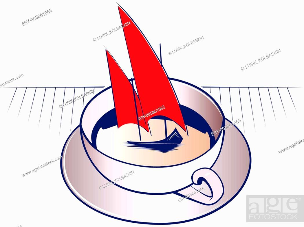 Stock Vector: coffee mug and boat.