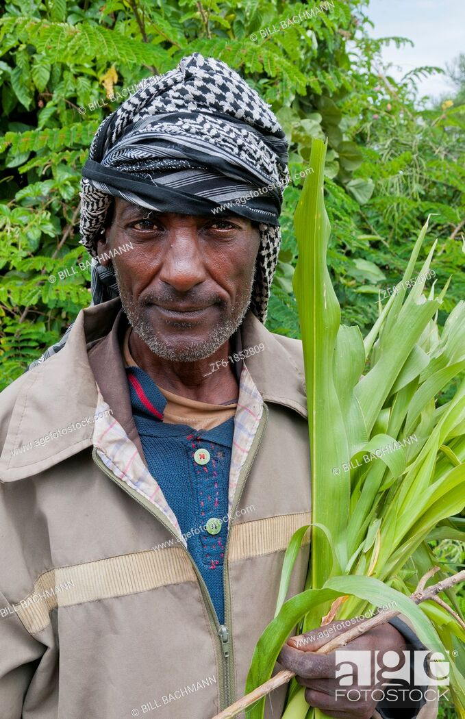 Stock Photo: Shashemene Ethiopia Africa Alaba tribe portrait of local man with turban farmer 9.
