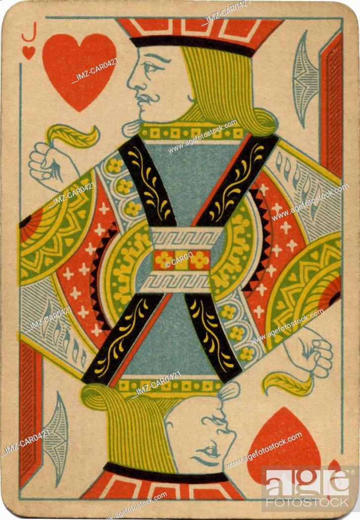 Stock Photo: Jack of Hearts vintage playing card.