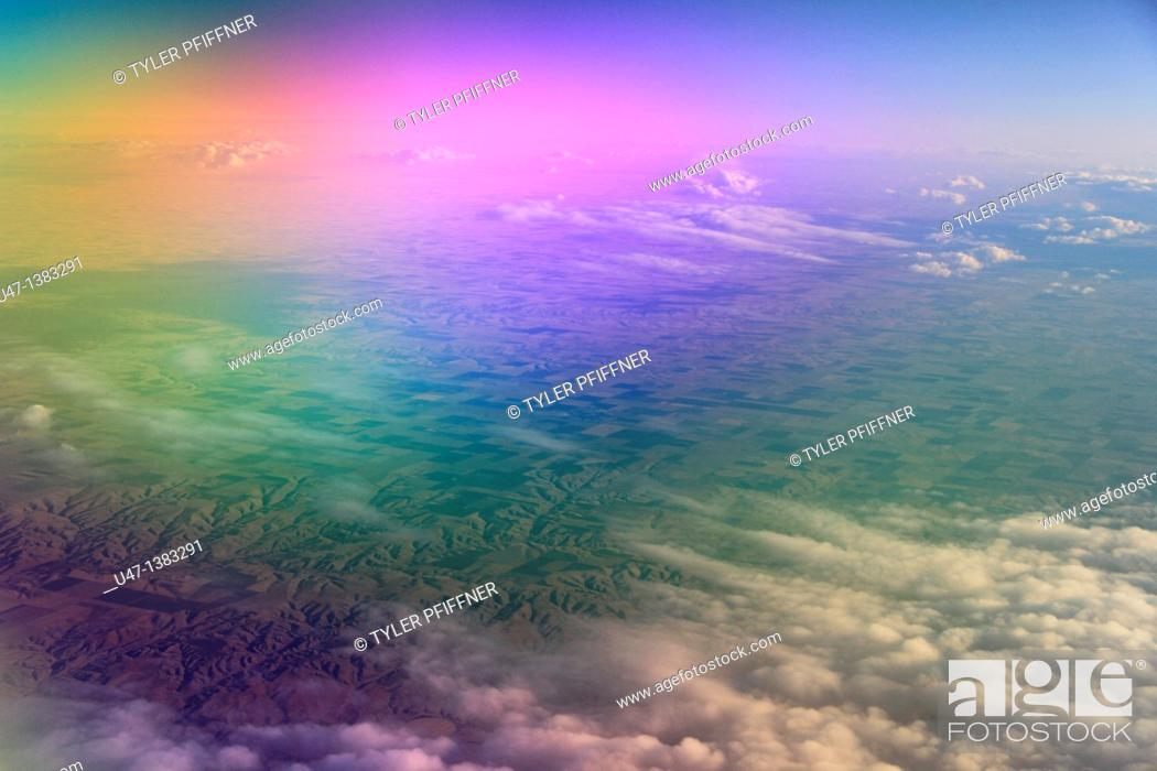 Stock Photo: image taken from plane above midwest farming land.