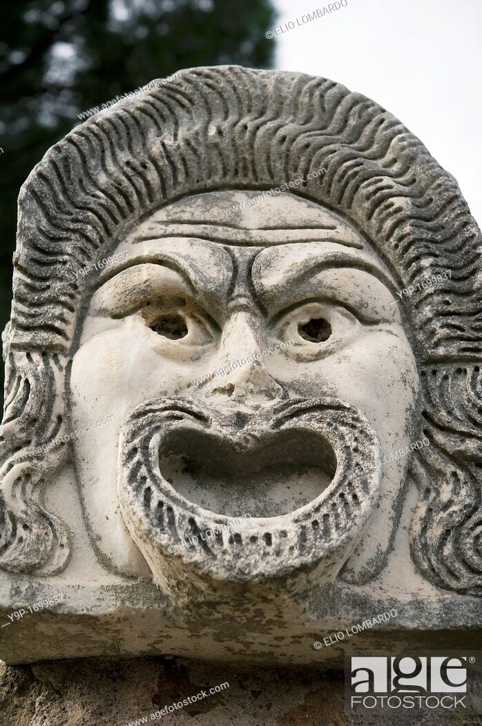Stock Photo: Stone Mask in the Roman Amphitheater  Ostia Antica, Rome, Italy.