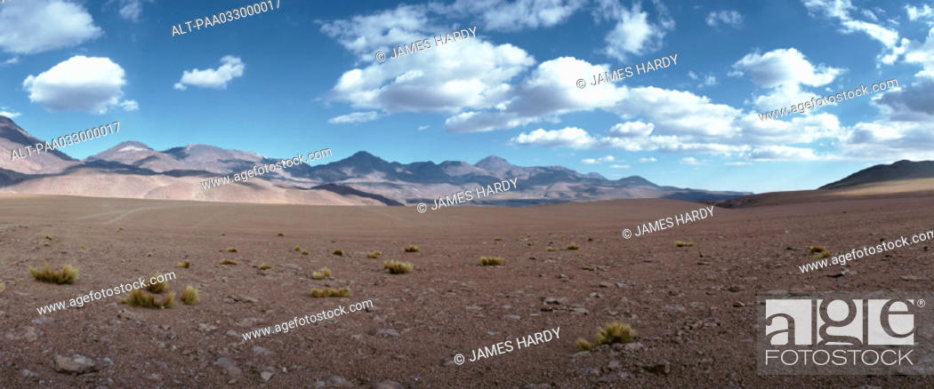 Stock Photo: Chile, desert landscape, mountains in background, panoramic view.