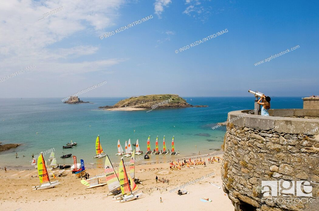 Stock Photo View Over The St Malo Beach Brittany France Europe
