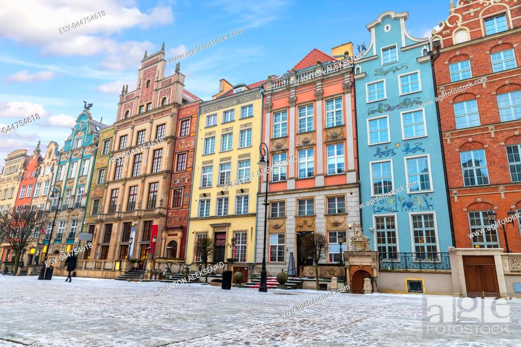 Stock Photo: Colourful buildings in the european street of Gdansk, Long Market.
